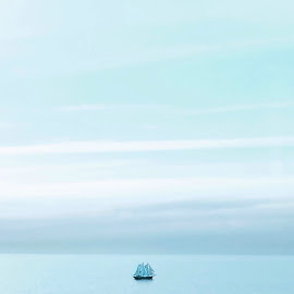 As idle as a painted ship by Rosemary Gamburg - Transportation Boats ( #monochromatic #simplicity # serenity #thesea #blue )