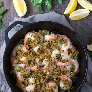 Easy Baked Shrimp with Garlic and Herb Butter.