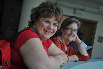 Photo: GEO's Judy Newhouse and Shirley Piepenbrink enjoying a break during the ALEA conference.