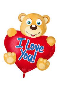 Foliefigur björn med hjärta, 57x80 cm
