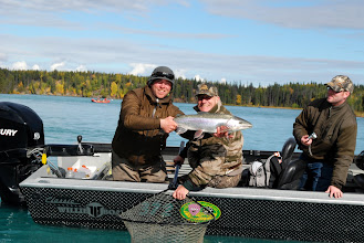 Photo: Nick Ohlrich of Alaska Drift Away Fishing with a 30 inch rainbow trout caught in Rainbow Alley on the Kenai river.