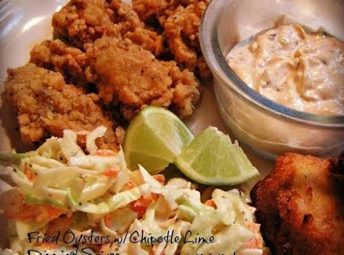 """Click Here for Recipe: Fried Oysters w/ Chipotle-Lime Dipping Sauce """"I have..."""