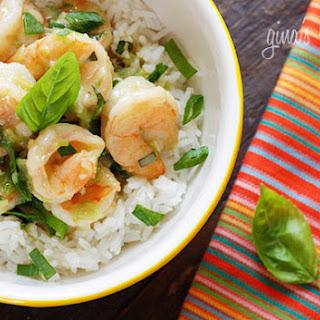 Thai Green Curry Coconut Shrimp with Basil.
