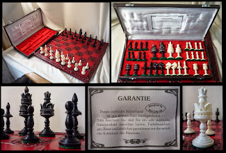 """Photo: Seen on Ebay - Oct. 2014:  """"Designed by Rolf Ulbrich""""   King = 4""""  The firm of Ulbrich Spieledesign was started by Rudolph Ulbrich in 1950 by the takeover of a bankrupt concern in Vestenbergsreuth, Bavaria, Germany. Intricately inlaid chess boards were produced. In 1954, his son Rolf joined the business and it seems that it was he who expanded it in other areas, including the design of chessmen that he had produced in India. The firm still exists, run by further generations of the family - see  http://www.ulbrich-spieledesign.de/de/seiten/index.html  http://www.nordbayern.de/region/hoechstadt/holzkunst-seit-generationen-1.2106390  Although the design of the above set is slightly different to that of mine, the overall design and quality would appear such that they were most probably made by the same firm - whether this was sanctioned by Ulbrich cannot be said.    It doesn't look as if the firm makes bone chessmen like this anymore, and I have so far seen no indication of when they may have stopped."""