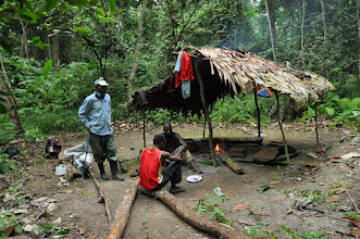 Photo: hunters' camp in the forest
