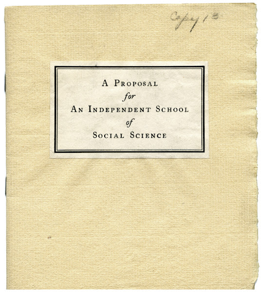 """Photo: Cover page from """"A Proposal for An Independent School of Social Science"""". The New School first opened its doors in 1919. Read about the earliest days of The New School. """"A Proposal for an Independent School of Social Science - for Men and Women"""" from 1919"""