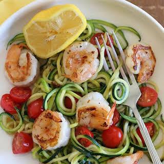 Zucchini Noodles (Zoodles) with Lemon-Garlic Spicy Shrimp.