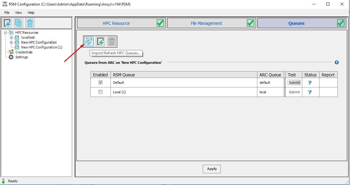 Нажмите кнопку «Import/Refresh HPC Queues» для импорта очередей с удалённого компьютера
