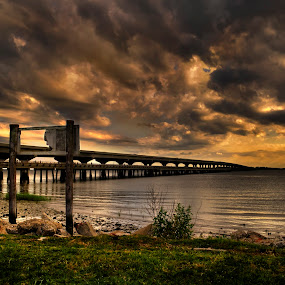 Broad River Bridge by Brent Sharp - Landscapes Waterscapes ( beaufort, clouds, hdr, waterscape, brent sharp, bridge, south carolina, river,  )