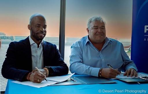 Telecom Namibia CEO, Dr Stanley Shanapinda and Paratus Group CEO Barney Harmse. (Photograph: Desert Pearl Photography).