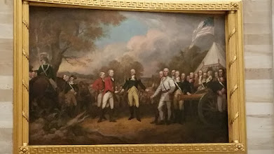 "Photo: Paintings in the rotunda. This is ""Surrnender of General Burgoyne"" depicting the American victory at the Battle of Saratoga in 1777.  - http://en.wikipedia.org/wiki/United_States_Capitol_rotunda"