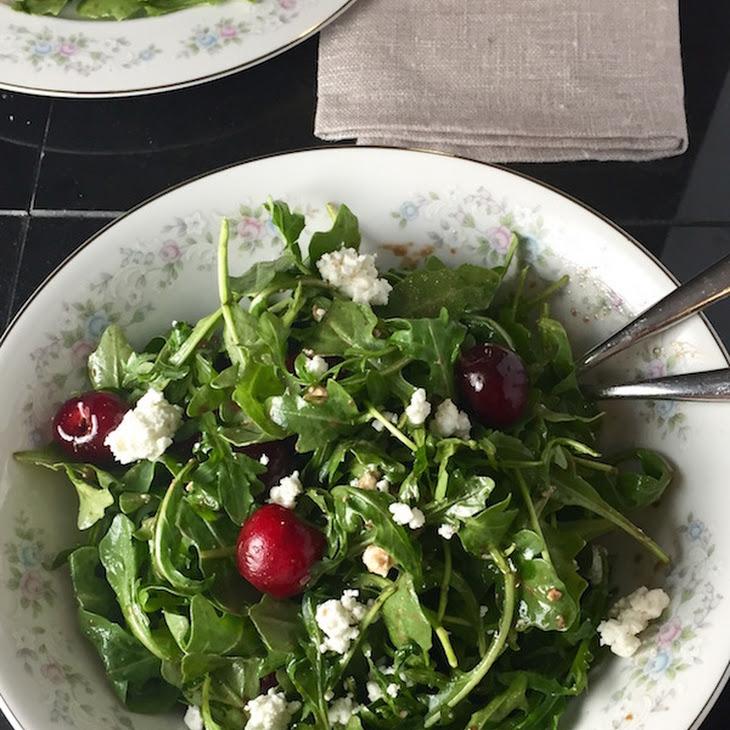 Arugula Salad with Balsamic, Cherries & Goat Cheese Recipe