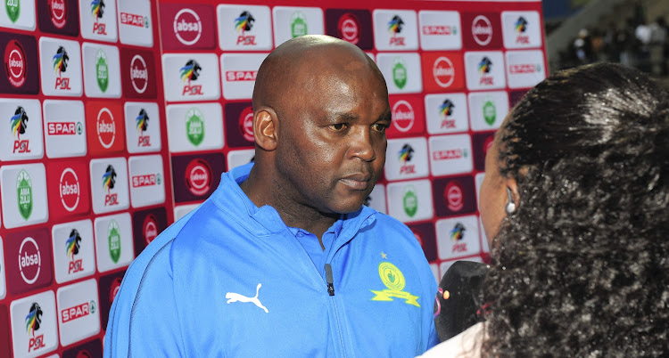 Mamelodi Sundowns coach Pitso Mosimane during his TV post mach interview after the Absa Premiership match against AmaZulu at King Zwelentini Stadium on 15 September 2018.