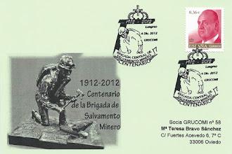 Photo: Matasellos del Centenario de la Brigada Central de Salvamento Minero, en Sama de Langreo