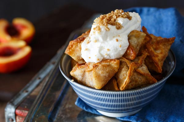 Peach Cobbler Wontons with Bourbon Whipped Cream Recipe