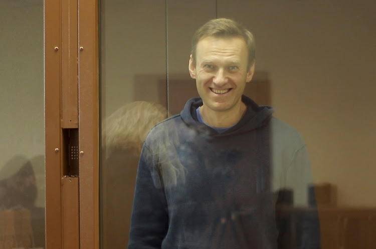 Kremlin critic Alexei Navalny stands the dock during a court hearing in Moscow, Russia, February 16 2021. Picture: REUTERS/HO/BABUSHKINSKY DISTRICT COURT