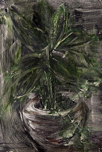 """Photo: 'The House Plant, 2', 3rd draft, 21cm x  29cm, 8"""" x 11.5"""", 2012, Moleskine folio Sketchbook, oils.   A meditation in ink on the plant, which withdraws its essence into its own mystery even as it offers its vibrancy. Today I used an acrylic base and oil paints.   The painting in my Moleskine is darker than this in most light; I took this photo in daytime shade."""