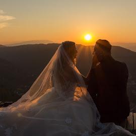 Sunset by Comsa Bogdan - Wedding Bride & Groom ( wedding photography, beautiful, romantic, enjoy, photo, people, trash the dress, photography, amazing, sweet, frame, awesome, gorgeous, wedding, sunset, comsa bogdan, outdoor, wonder, bride and groom, bride, groom )