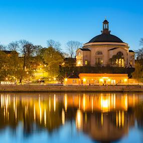 Church at Night by D L - City,  Street & Park  Night ( exposure, nordic, sweden, europe, stockholm, church, scandinavia, travel, long, baltic, sun, city, midnight, night )