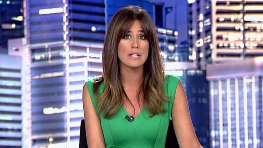 Isabel Jiménez presentado los Informativos en Telecinco.
