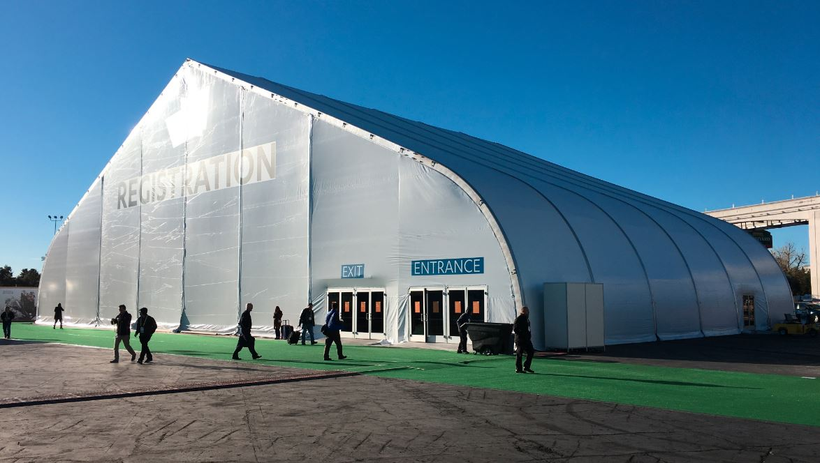 Tension fabric building open to the public in use as convention space or surge hospital space