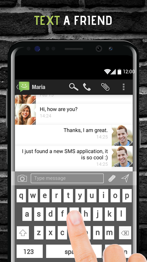 SMS from Android 4.4 with Caller ID- screenshot