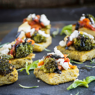Roasted Vegetable Bruschetta on Pesto Polenta Bites