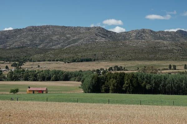 Felder und Berge an der R62 bei Nollshalte