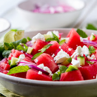 Watermelon, Mint and Cucumber Salad.