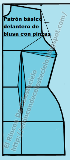 Patrón delantero de blusa o vestido con pinzas para tejido plano