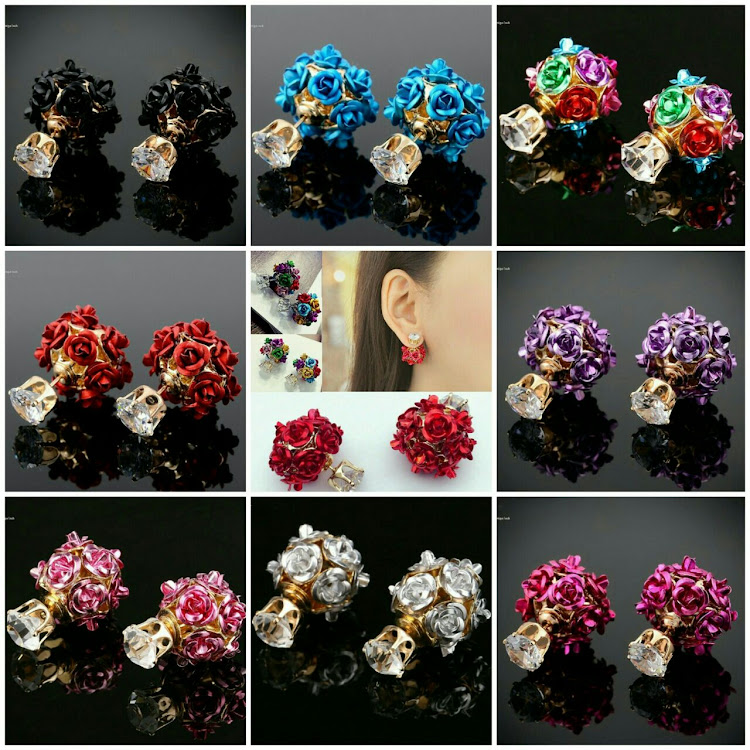 BIG CRYSTAL RHINESTONES BACK ROSES STUD EARRING by Vinar Jewel