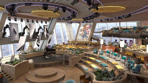 Two70° on Quantum of the Seas features wraparound, floor-to-ceiling windows with 270-degree views. The space transforms into a high-tech showroom at night.