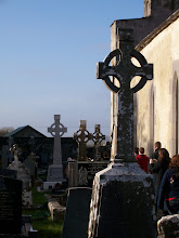 Photo: Cemetery, roofless abbey & Celtic crosses