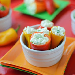 Avocado and Cottage Cheese Stuffed Sweet Mini Peppers.