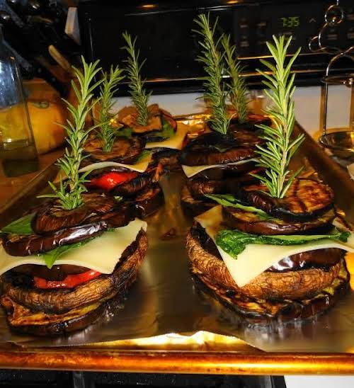 """Grilled Veggie Towers with Pesto Dipping Sauce """"This recipe is a combination..."""
