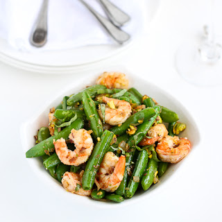 Sautéed Shrimp, Snap Peas & Pistachios with Basil.