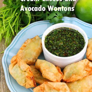 Cream Cheese and Avocado Wontons with Cilantro Lime Dipping Sauce.