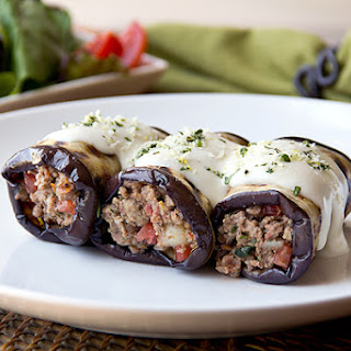 Greek-Style, Grilled Eggplant Roll-Ups with Spiced Beef Filling and Creamy Romano Béchamel Sauce
