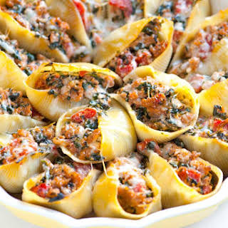 Sausage Stuffed Shells with Spinach.