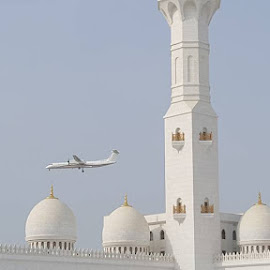 Plane Worship by Ken Ralidis - Buildings & Architecture Places of Worship ( plane, minaret, mosque, white, cell phone photo )