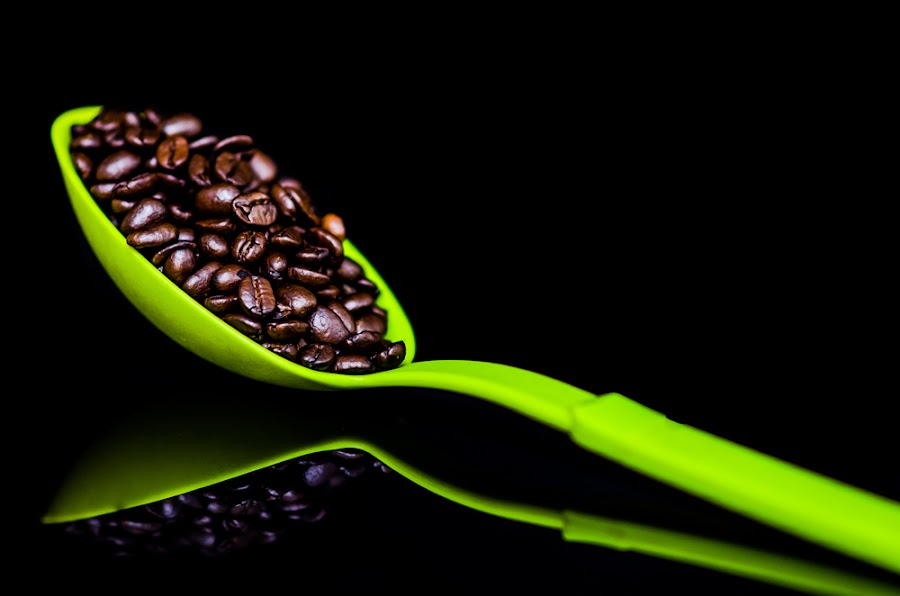 Green & Beans by Mc Jim - Artistic Objects Cups, Plates & Utensils ( utensil, beans, coffee, spoon green )