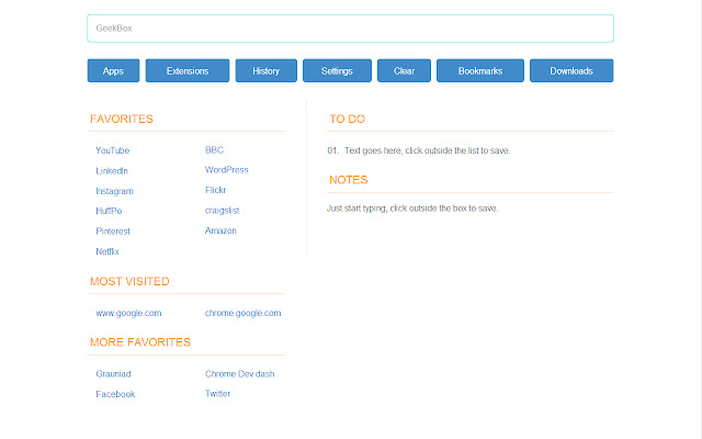 Geekbox: new tab page