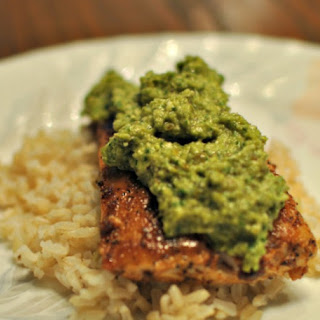 Jerk Rub Grilled Mahi Mahi with Sweet Pepper Pesto