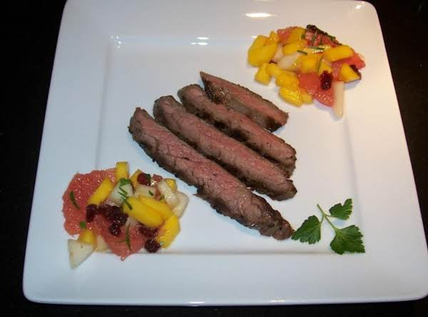 Grapefruit-marinated Steak With Asian Jeweled Fruit Recipe