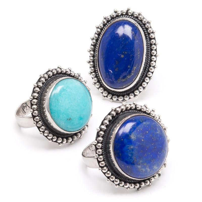Amazonit & lapis lazuli, silverring med filigran
