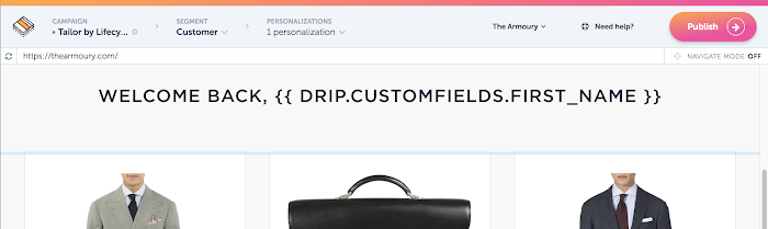 Greet a customer by name on your site using Drip and RightMessage