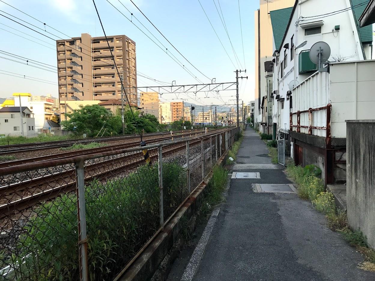 向洋駅近くの線路際