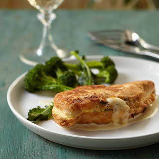Cheese-Stuffed Chicken Cutlets with Mustard Sauce.