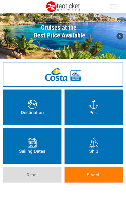 Ticketcosta - Specialists in Costa Cruises- screenshot
