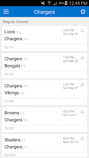 Football Schedule for Chargers